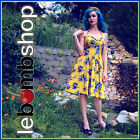 50s Style PLUSSZ Eleanor Paige PINUP MUSTARD Ylw ROSE Floral Print HALTER SunDrs