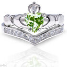 Peridot Claddagh Heart Simulated Diamond Celtic Sterling Silver Ring Set