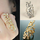 Fashion Womens Gold Silver Plated Crystal Leaf Above Knuckle Finger Ring Set