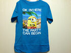DESPICABLE ME 2 Blue Minion Party Can Begin Boys Tee T Shirt Size 5-7 Brand New