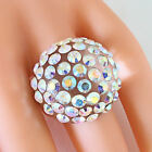 New Clear Acrylic Domed Ring Numerous Rainbow Swarovski Elements Crystal On Dome
