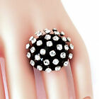 New Black Acrylic Domed Ring Clear Extended Swarovski Elements Crystal On Dome