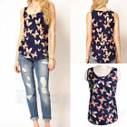 Women Butterfly Print Sleeveless Tank Top Vest Chiffon Lady Blouse T-Shirt