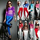 Sexy Lady Women Sheer Mesh See Through Long Sleeve T Shirt Tops Blouse New