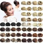 Clip In On Straight Drawstring Bride Hair Bun Chignon Updo Cover Hair Extensions