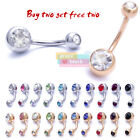G2B 316L Surgical Steel Belly Bar Navel Button Double Crystal Body Piercing New