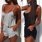 Sexy Womens Short Sleeve Crop Jumpsuit Strappy Top Shorts Two 2 Piece Dress Set