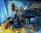 Girl In Blue Playing Piano Needlepoint Canvas 612