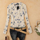 New Fashion Women Chiffon Blouse Bird Print Long Sleeve Casual Slim Shirt Tops H