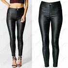 NEW LADIES HIGH WAIST BLACK PU JEANS LEATHER LOOK SKINNY STRETCH TROUSERS PANTS