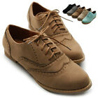 ollio Womens Shoes Ballet Flats Faux-Suede Wingtip Lace Ups Oxford