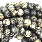 "Black Rutilated Matrix Jasper Round Beads 15.5"" Strand 4mm 6mm 8mm 10mm 12mm"
