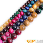 "Assorted Pink Green Gold Blue Tiger's Eye Round Beads 15"" 6mm 8mm 10mm 12mm"