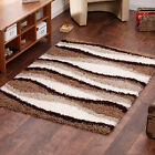 MEDIUM SMALL 5CM THICK SHAGGY HIGH QUALITY BROWN  BEIGE CLEARANCE RUGS FOR SALE.