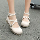 Womens Ladies Mary Jane Lolita Pumps Flat Round Toe Buckle Cross Strap Shoes