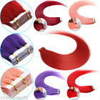 16''-24'' Seamless Tape In Remy Human Hair Extensions Red Pink Blue Bug Purple