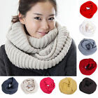 New Women Infinity Two Circle Cable Knit Cowl Neck Long Scarf Shawl Winter Warm