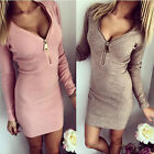 Sexy Women Dress Long Sleeve V-neck Bodycon Dresses Slim Cherrykeke Clothes Top