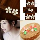 Fashion  Elegant Women Plated Flower Crystal Rhinestone Ear Stud Earrings N98B