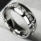 Men/Women CZ Couple Stainless Steel Wedding Ring Titanium Engagement Band Sz7-11