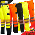 Hi Viz High Vis Safety Combat Cargo Pocket Work Trouser Pants Highways Road Rail