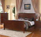 NEW CLASSIC STYLE LENORA MEDIUM WALNUT FINISH WOOD QUEEN KING SLEIGH BED