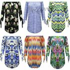 New Womens Floral Printed Off Shoulder Dress 3/4 Tie Sleeve Curve Hem Tunic Top