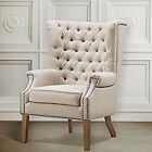 Restoration Hardware Replica Tufted Wingback Wing Barrel Chair Linen Nailhead