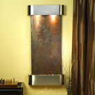 Cascade Springs Natural Stone/Metal Square Edges Wall Fountain with Light