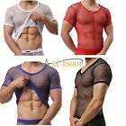 Sexy Men's Mesh Sheer See through Summer T-Shirt Undershirt Vest Shirt Clubwear