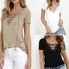 Fashion Women Blouse Sexy V Neck Loose Pullover T Shirt Short Sleeve Cotton Tops