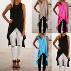Women Summer Irregular Swallow-Tailed Cross Vest Sleeveless Shirts Long Blouse