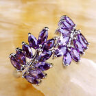 On Sale Marquise Cut Amethyst Gemstone Silver Jewelry Men Ring Size O Q S T1/2