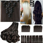 Real as human Clip in on Full Head Hair Extensions Maga Thick 170g US Stock sn78