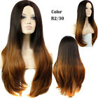 New Fashion Long Wavy Curly Ombre Black Blonde Synthetic Hair Women's Full Wig
