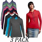 3-PACK-Anvil Sweatshirts Hoodies-Womens Fashion Basic Long Sleeve Hooded tshirt