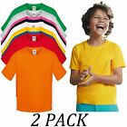 2-PACK-Fruit Of The Loom Kids Soft spun T-Shirt Short Sleeve Crew neck tshirts