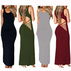 Sexy Lady Summer Strappy Hollowed Backless Sleeveless Cocktail Maxi Jersey Dress
