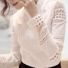 Womens Ladies OL Tops Blouse Casual Long Sleeve Hollow Lace Cotton Shirt