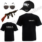 MENS SWAT T SHIRT CAP FBI FANCY DRESS COSTUME POLICE COP MILITARY STAG NIGHT LOT