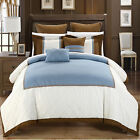 Greensville Blue, White & Brown 7 Piece Comforter Bed In A Bag Set