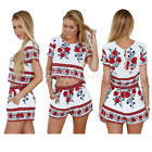 Women's Vintage Printed Two Pieces Short Sleeve T-shirt Crop Top And Shorts Sets