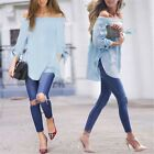 Sexy Ladies Off Shoulder Split Long Sleeve Oversized T Shirt Tops Blouse N98B