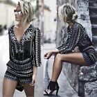 Women Party Beach Jumpsuit Casual Playsuit Sexy Striped Romper Deep V Retro
