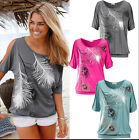 Women Fashion Relax time Off Shoulder Feather Short Sleeve T-shirt