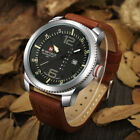 NAVIFORCE Mens Analog Quartz Casual Leather Wrist Watch Date Week Military Army image