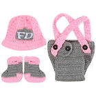 Baby Unisex Pink Suit Hat+Pants+Shoes Crochet Knit Costume Photography Prop Cap