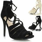 Ladies Cut Out Lace Up High Heel Strappy Peep Toe Gladiator Sandals Shoe Boot