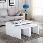 Design Modern High Gloss White Black Coffee Table Side End Table Set Living Room