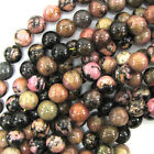 "Black Pink Rhodonite Round Beads Gemstone 15.5"" Strand 4mm 6mm 8mm 10mm 12mm"